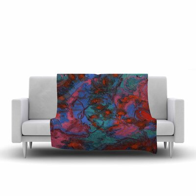 Jeff Ferst Koi Pond Painting Fleece Throw Size: 50 W x 60 L