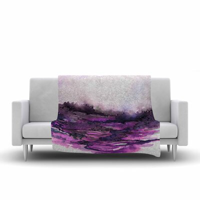 Ebi Emporium the Long Road 5 Watercolor Fleece Throw Size: 50 W x 60 L