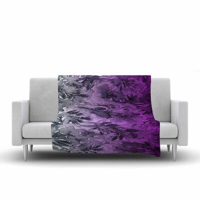 Ebi Emporium Forever Flowers Fleece Throw Size: 50 W x 60 L, Color: Purple/Gray