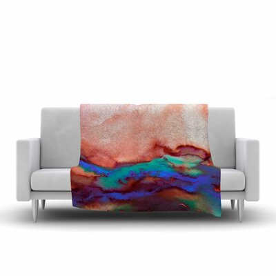Ebi Emporium Winter Waves, Prismatic Vision Watercolor Fleece Throw Size: 60 W x 80 L