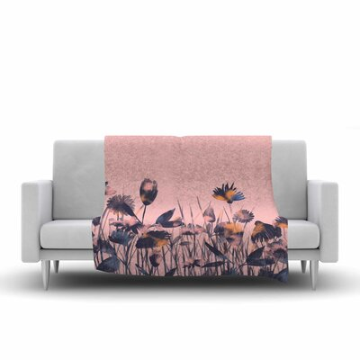 Hitidesign Crazy Flowers Illustration Fleece Throw Size: 60 W x 80 L