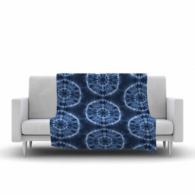 Jacqueline Milton Shibori Circles Mixed Media Fleece Throw Size: 60 W x 80 L, Color: Indigo