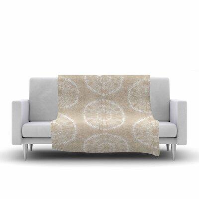 Jacqueline Milton Shibori Circles Mixed Media Fleece Throw Size: 60 W x 80 L, Color: Latte