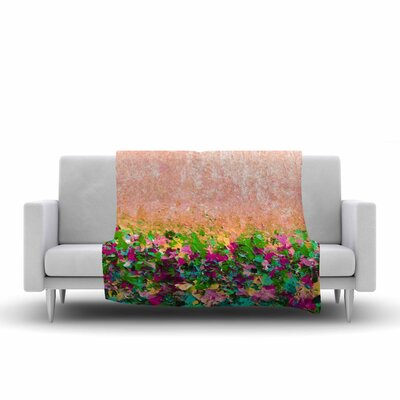 Ebi Emporium Natures Living Room, Painting Fleece Throw Size: 50 W x 60 L, Color: Peach