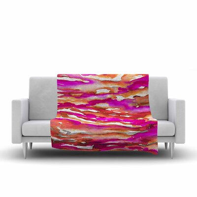 Ebi Emporium Flutter, Watercolor Fleece Throw Size: 50 W x 60 L, Color: Magenta/Coral
