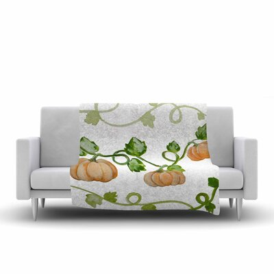 Jennifer Rizzo Trio of Fall Pumpkins Painting Fleece Throw Size: 60 W x 80 L