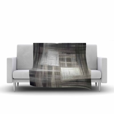 Ebi Emporium TarCrosshatch, Grayscale Painting Fleece Throw Size: 50 W x 60 L