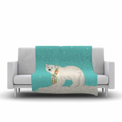 Jennifer Rizzo Chilly Snow Bear Fleece Throw Size: 60 W x 80 L