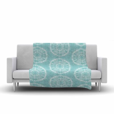 Jacqueline Milton Shibori Circles Mixed Media Fleece Throw Size: 50 W x 60 L, Color: Aqua