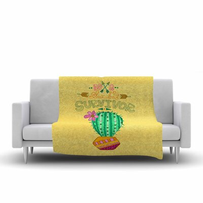 Jane Smith Be a Succulent Survivor Illustration Fleece Throw Size: 60 W x 80 L