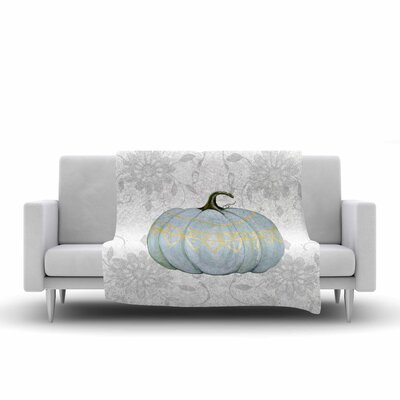 Jennifer Rizzo Boho Pumpkin Grey Illustration Fleece Throw Size: 60 W x 80 L