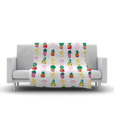 Jane Smith Succulent Cali Cacti Illustration Fleece Throw Size: 50 W x 60 L
