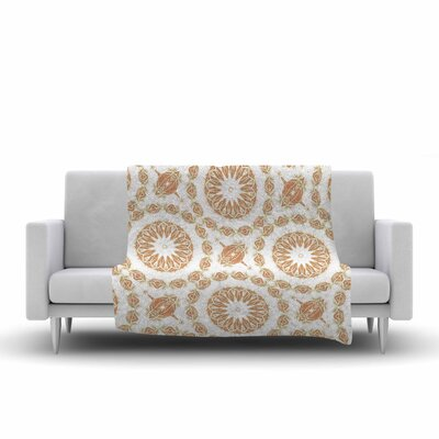 Alison Coxon Citrine Mandala Tile Digital Fleece Throw Size: 60