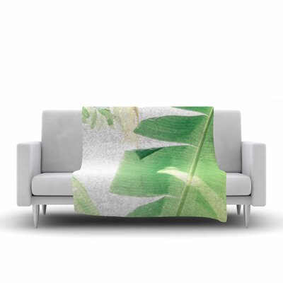 Ann Barnes Banana Leaf I Fleece Throw Size: 60 W x 80 L