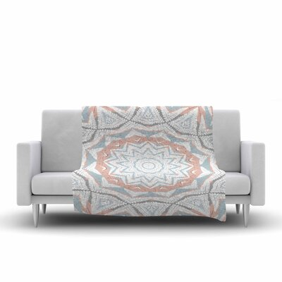 Alison Coxon Plant House Mandala Digital Fleece Throw Size: 60 W x 80 L, Color: Coral/Blue