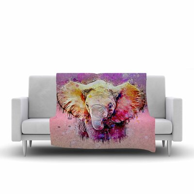 Ancello Watercolor Elephant Digital Fleece Throw Size: 50 W x 60 L