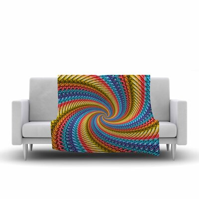 Ancello Round Spirals Digital Fleece Throw Size: 60 W x 80 L