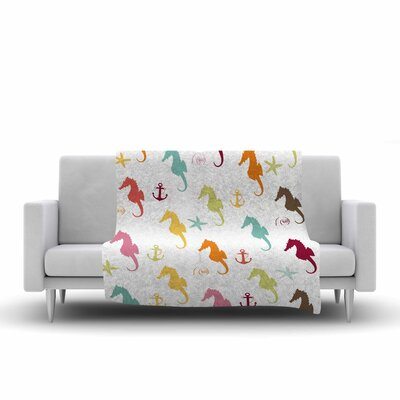 Afe Images Seahorse Pattern Illustration Fleece Throw Size: 50 W x 60 L