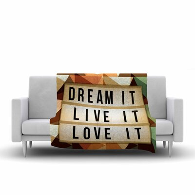 AlyZen Moonshadow Dream It Typography Digital Fleece Throw Size: 50 W x 60 L, Color: Beige/Green