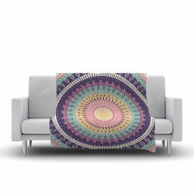 Amanda Lane Bohemian Tribal Mandala Digital Illustration Fleece Throw Size: 60 W x 80 L, Color: Purple/Green/Yellow