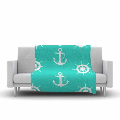 Afe Images Anchor and Helm Wheel Illustration Fleece Throw Size: 60 W x 80 L