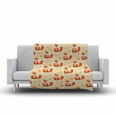 Cristina Bianco Design Fox New Friends Pattern Illustration Fleece Throw Size: 50 W x 60 L