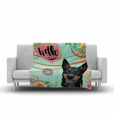 Alyzen Moonshadow Hello Love Fleece Throw Size: 50 W x 60 L
