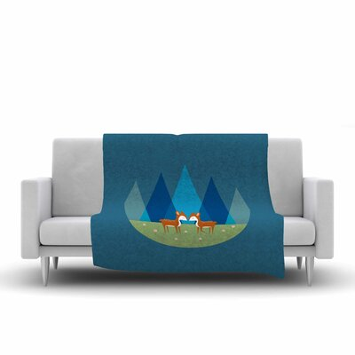 Cristina Bianco Design Cute Baby Deer Illustration Fleece Throw Size: 50 W x 60 L