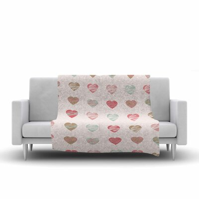 Afe Images Hearts Pattern Illustration Fleece Throw Size: 60 W x 80 L