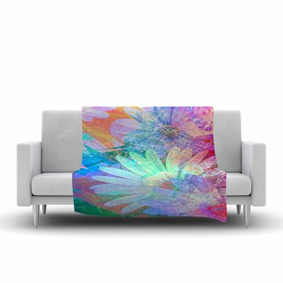 AlyZen Moonshadow Floral Meld Abstract Digital Fleece Throw Size: 60 W x 80 L