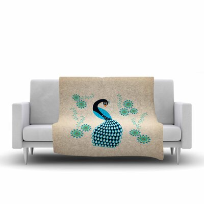 Cristina Bianco Design Peacock Illustration Fleece Throw Size: 50 W x 60 L