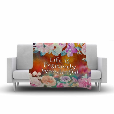 AlyZen Moonshadow Life is Positively Wonderful 1 Digital Fleece Throw Size: 50 W x 60 L