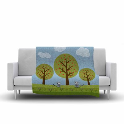 Cristina Bianco Design Cute Raccoons and Apple Trees Illustration Fleece Throw Size: 50 W x 60 L
