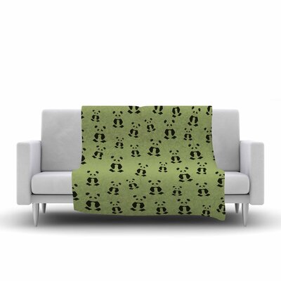 Cristina Bianco Design Panda Pattern Illustration Fleece Throw Size: 60 W x 80 L
