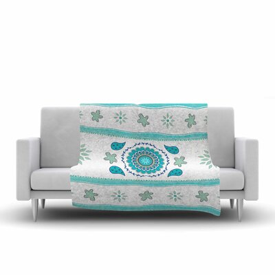 Cristina Bianco Design Mandala Design Painting Fleece Throw Color: Blue/White, Size: 60 W x 80 L