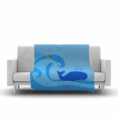 Cristina Bianco Design Whale Fleece Throw Size: 60 W x 80 L