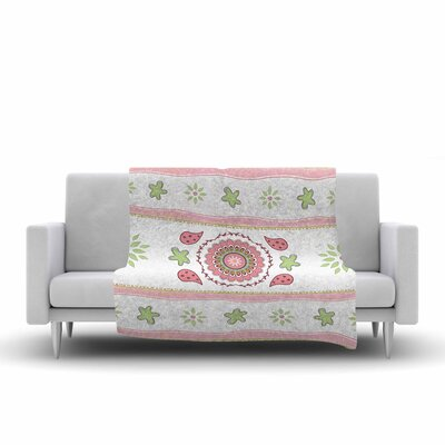 Cristina Bianco Design Mandala Design Painting Fleece Throw Size: 60 W x 80 L, Color: Pink/Green