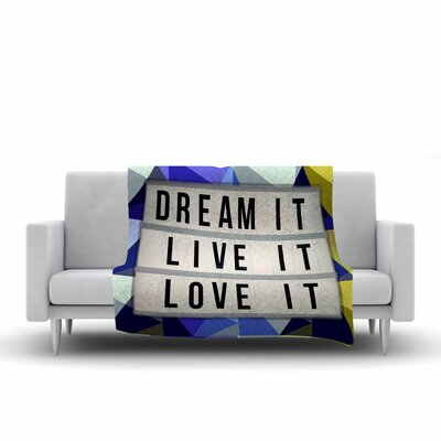 AlyZen Moonshadow Dream It Typography Digital Fleece Throw Size: 50 W x 60 L, Color: Blue/Yellow
