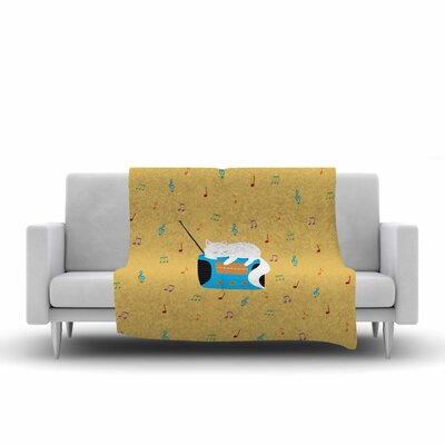 Cristina Bianco Design Sleeping Cat Vintage Radio Illustration Fleece Throw Size: 50 W x 60 L