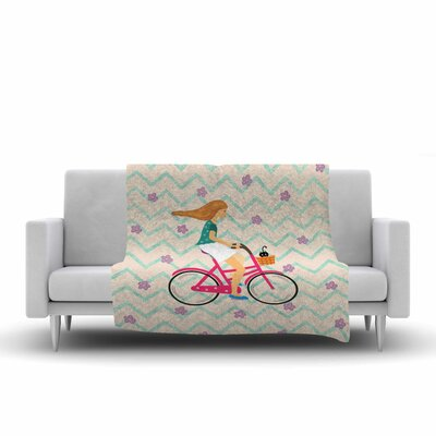 Cristina Bianco Design Bicycle Ride Fleece Throw Size: 60 W x 80 L