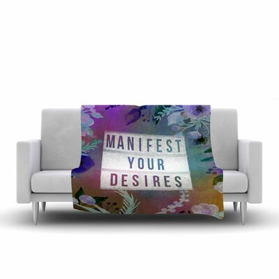 AlyZen Moonshadow Manifest Your Desires 1 Typography Fleece Throw Size: 50 W x 60 L