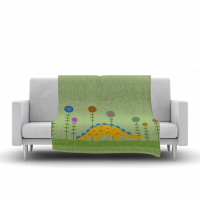 Cristina Bianco Design Cute Dinosaur Illustration Fleece Throw Size: 50 W x 60 L