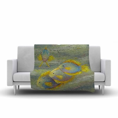 Carol Schiff Something Fishy Painting Fleece Throw Size: 50 W x 60 L