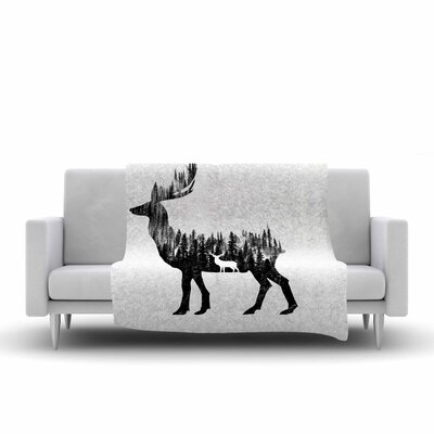 BarmalisiRTB the Deer Digital Fleece Throw Size: 60 W x 80 L