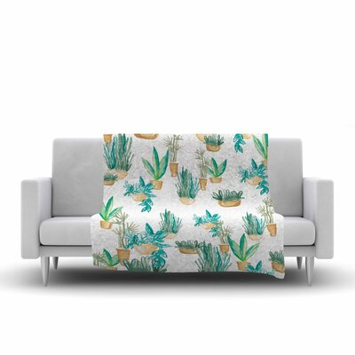 Danii Pollehn House Plants Illustration Fleece Throw Size: 60 W x 80 L