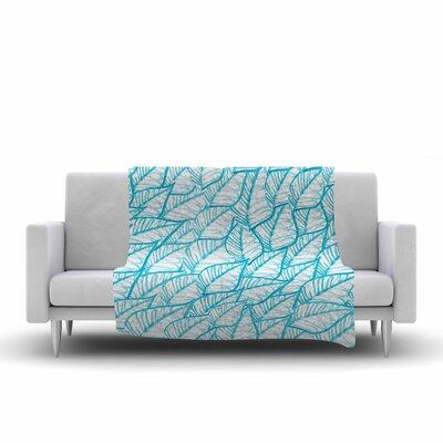 Danii Pollehn Leaves Illustration Fleece Throw Size: 60 W x 80 L
