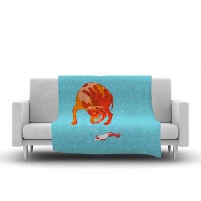 BarmalisiRTB Koi Cat Fleece Throw Size: 50 W x 60 L