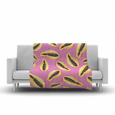 Danii Pollehn Papaya 2 Illustration Fleece Throw Size: 60 W x 80 L