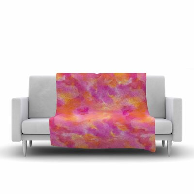 Danii Pollehn Explosion Watercolor Fleece Throw Size: 60 W x 80 L