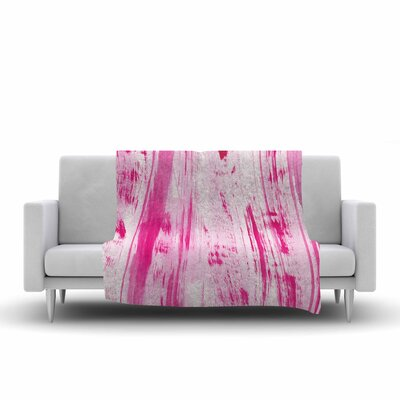 Danii Pollehn Stripes Watercolor Fleece Throw Size: 60 W x 80 L